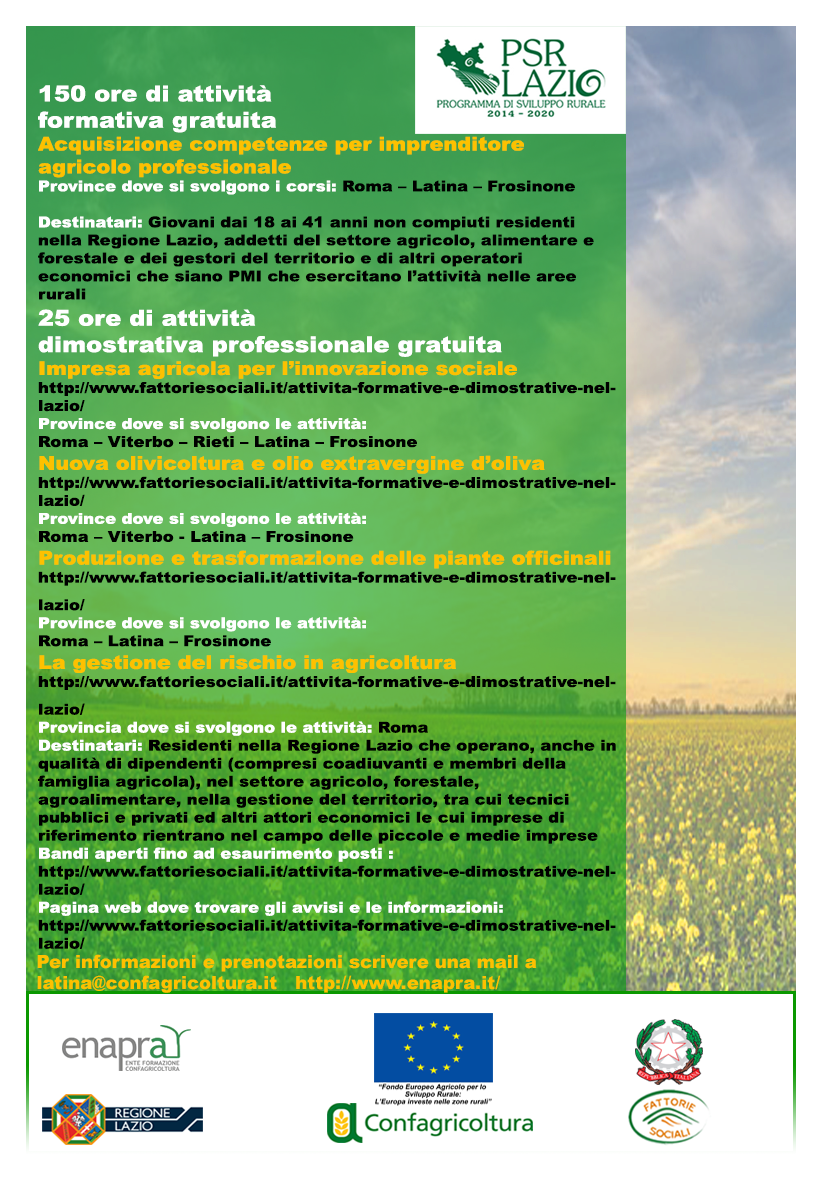 150 ore di attività formativa per acquisizione competenze Imprenditore Agricolo Professionale (IAP) | Confagricoltura Latina